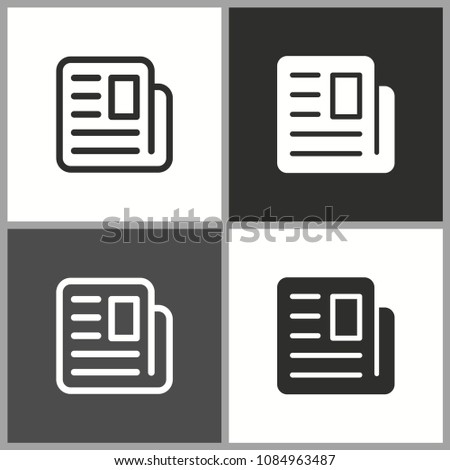 Vector news icon, newspaper symbol. Illustration isolated for graphic and web design.