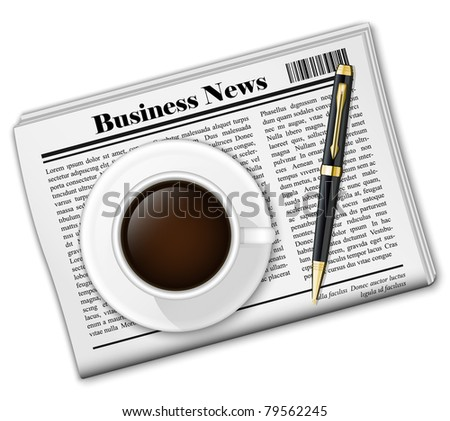 Vector newspaper with coffee cup and pen