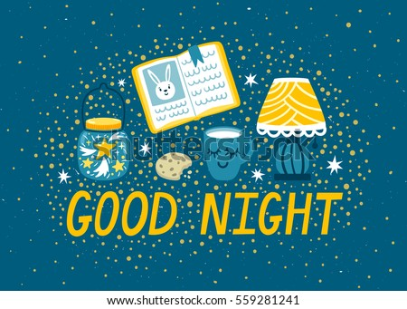 Vector night background with milk, cookies, lamp, book and mason jar with stars. Magic card with cute hand drawn elements. Stock photo ©