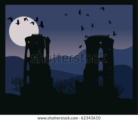 vector night castle with crows