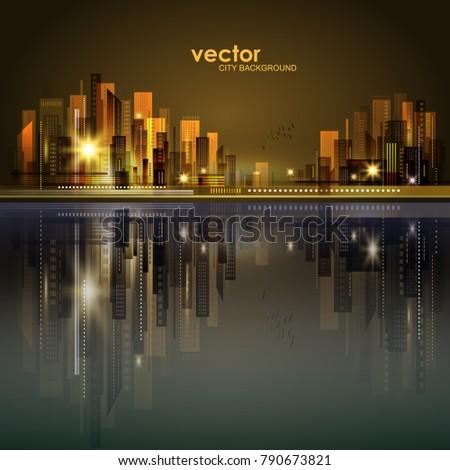 vector night city illustration