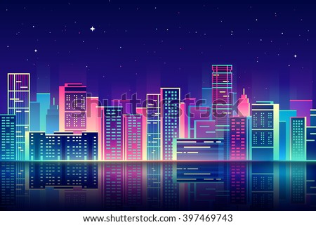 vector night city illustration