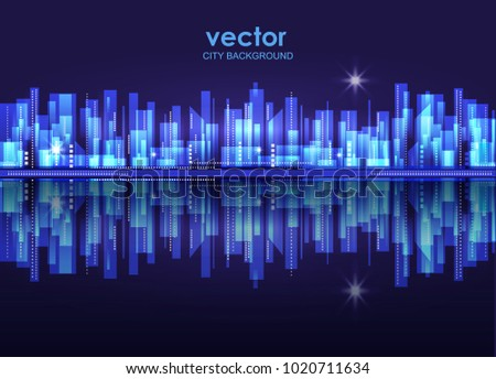vector night city skyline with