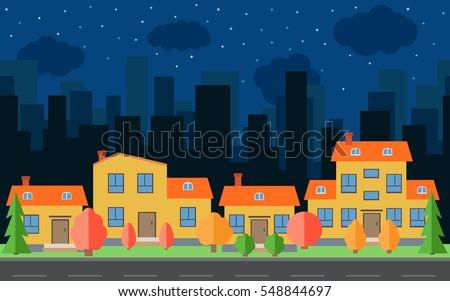 vector night city with cartoon