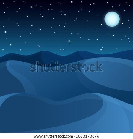 vector night desert dunes