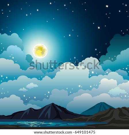 vector night landscape with