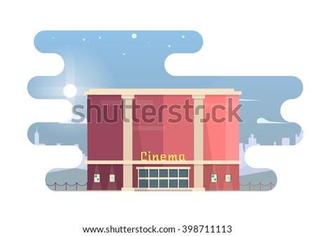 vector night movie theater