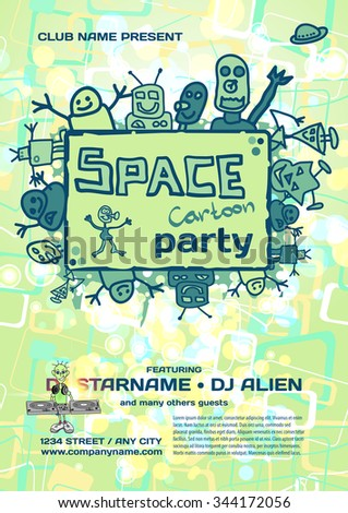 Vector night party invitation vector template with cartoon alien vector night party invitation vector template with cartoon alien graphic stopboris Images