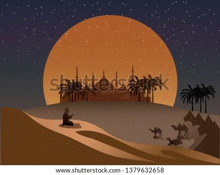 vector night scene of oasis in