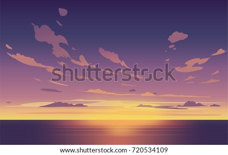 vector night sky clouds sunset