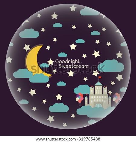 vector night sky  moon and