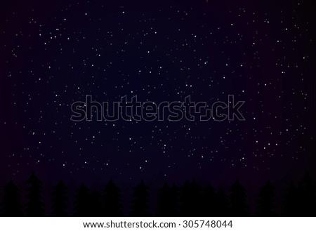 vector night sky with dark tree