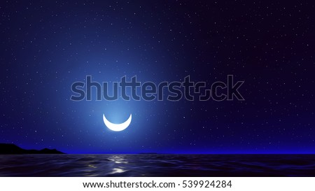 vector night sky with ocean