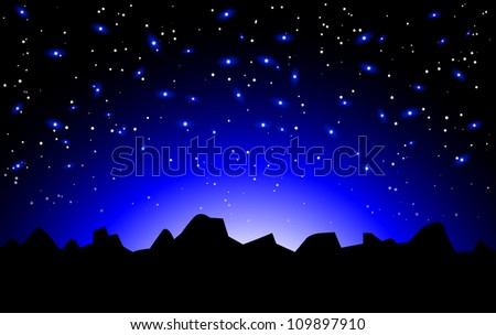Vector night space landscape