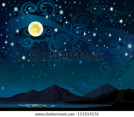 vector night starry sky with