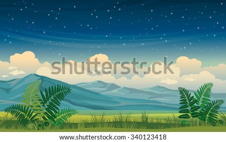 vector night summer landscape