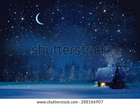 vector night winter landscape