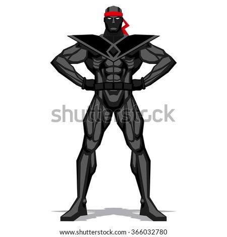 vector ninja posing isolated on