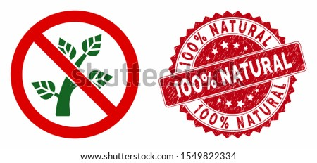Vector no botany icon and rubber round stamp seal with 100% Natural phrase. Flat no botany icon is isolated on a white background. 100% Natural stamp uses red color and rubber surface.