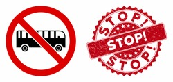 Vector no bus icon and grunge round stamp watermark with Stop! caption. Flat no bus icon is isolated on a white background. Stop! stamp uses red color and grunge design.