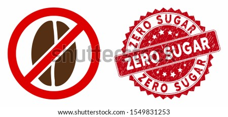 Vector no caffeine icon and corroded round stamp seal with Zero Sugar phrase. Flat no caffeine icon is isolated on a white background. Zero Sugar stamp seal uses red color and grunged texture.