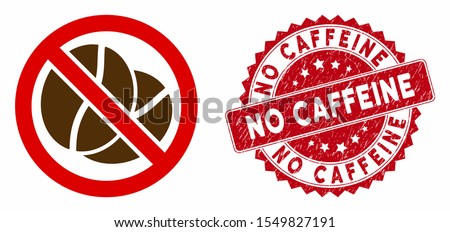 Vector no caffeine icon and rubber round stamp seal with No Caffeine phrase. Flat no caffeine icon is isolated on a white background. No Caffeine stamp seal uses red color and scratched design.