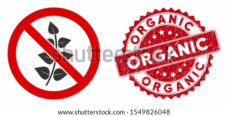 Vector no flora plant icon and grunge round stamp watermark with Organic phrase. Flat no flora plant icon is isolated on a white background. Organic stamp seal uses red color and grunge surface.