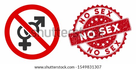 Vector no sex icon and grunge round stamp seal with No Sex phrase. Flat no sex icon is isolated on a white background. No Sex stamp seal uses red color and grunge texture.