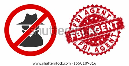 Vector no spy icon and grunge round stamp seal with FBI Agent caption. Flat no spy icon is isolated on a white background. FBI Agent stamp seal uses red color and grunge surface.