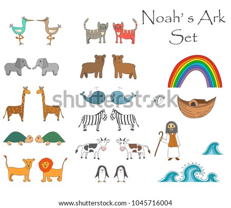 Vector Noah's Ark Set with animals, Bible story for children. Set can be used for stickers, games, studying, storytelling and othed activities for children ストックフォト ©