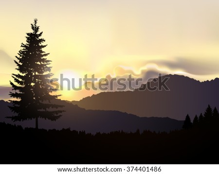 Vector north american landscape. Silhouette of coniferous trees on the background of mountains and colorful sky. Sunrise. Eps 10.