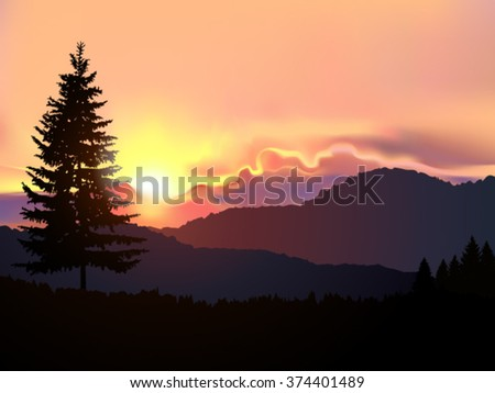 Vector north american landscape. Silhouette of coniferous trees on the background of mountains and colorful sky. Sunset. Eps 10.