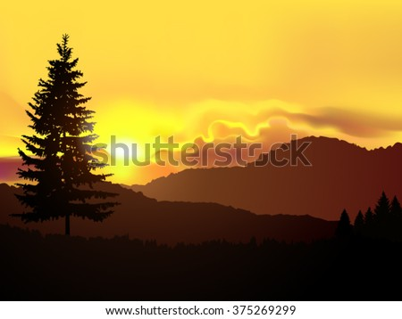 Vector north american landscape. Silhouette of coniferous trees on the background of mountains and golden sky. Sunset. Eps 10.