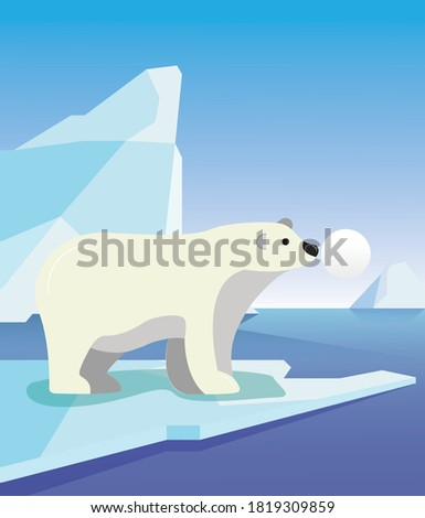 Vector North Pole with Polar Bear and Blue Sky. Create with Adobe Illustrator CC 2019