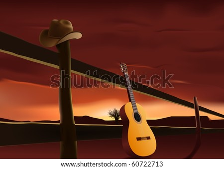 vector nostalgic scene with cowboy hat and guitar