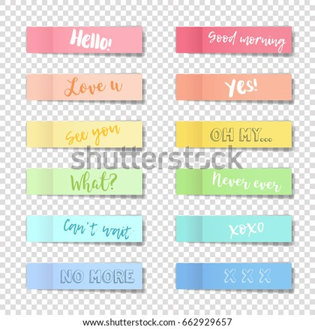 Vector note pads set - realistic illustration with shadows. Memory pads colorful rainbow collection with text messages