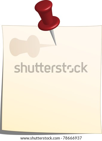 Vector note paper and thumbtack
