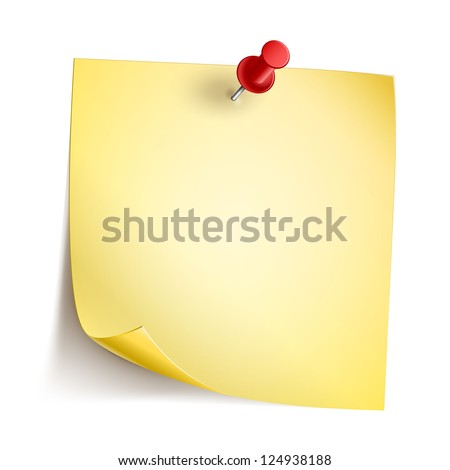Vector Note Paper with pin on white background - stock vector