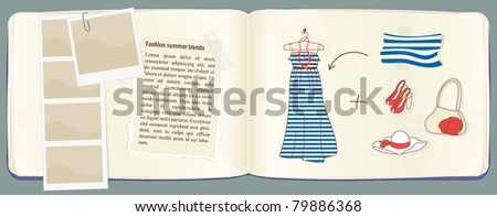 Vector notebook with fashion and clothes accessories