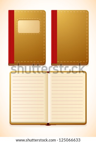 Vector notebook with lines, closed and opened versions