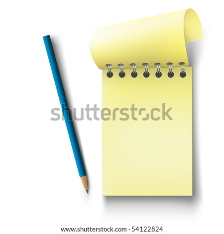 Vector notepad. Notebook with pencil