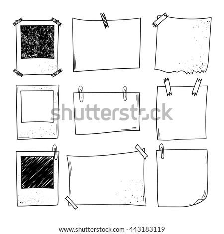 Vector notepapers, photoframes. Doodle vector illustration. Hand drawn vintage, modern set.