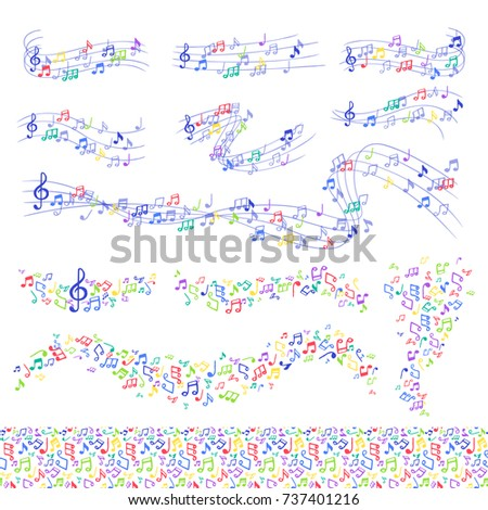 Vector notes music melody colorfull musician symbols melody text writting symphony