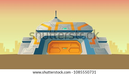 Vector nuclear secret bunker of scientific laboratory for creation. Cartoon isolated lab, headquarters for experiments or technology research. Colonization building. Architecture background