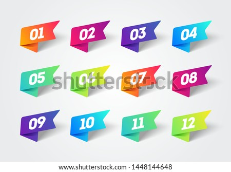 Vector Number Bullet Point 1 to 12 Colorful Label Ribbons Set ストックフォト ©