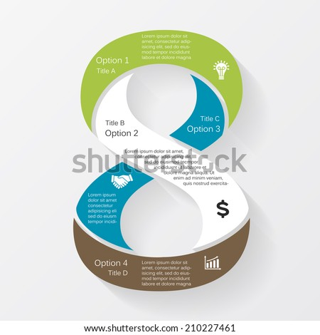 Vector number eight business infographic, diagram, presentation, with options