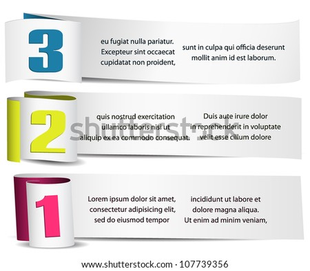 vector numbered paper elements