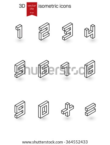 Vector numbers. Isometric Line icons.  Stylized 3D icons for web and mobile devices.
