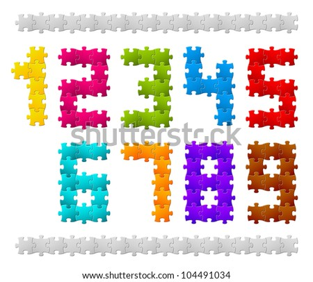 Vector Numbers made from colorful puzzle pieces
