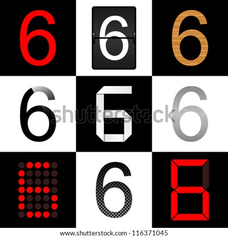 Vector numbers set. Nine different styles: (normal, timetable, wood, piano, origami, aluminum, digital and carbon) - 6 - stock vector